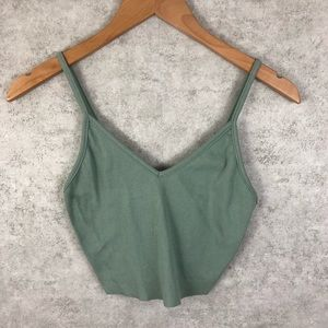 Audrey 3+1 Dusty Olive Ribbed Crop Top